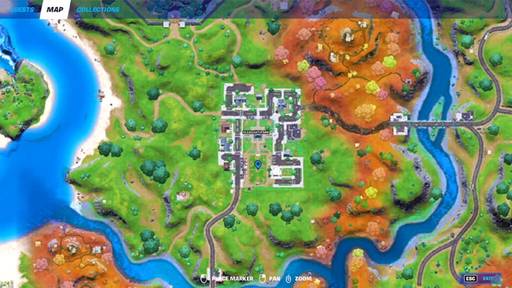 Fortnite Pleasant Park Soccer Player Location